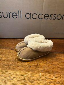 Kids Soft Sole Sheepskin Slippers w Suede Shell & Curly Shearling Cuff- Size 8