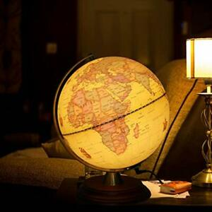 Illuminated World Globe Lamp with Wooden Stand