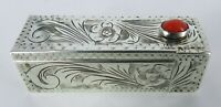 800 ITALIAN SILVER Hand Chased LIPSTICK CASE With MIRROR & CORAL CABOCHON