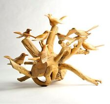 Hand Carved Jempinis wooden Birds on Coffee Root Wood Base Fair Trade Ornament