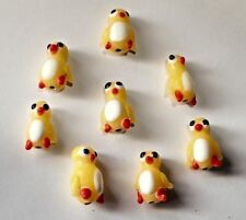 8 ADORABLE Yellow Ducklings Ducks Lampwork Glass Beads
