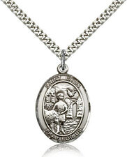 "Saint Vitus Medal For Men - .925 Sterling Silver Necklace On 24"" Chain - 30 D..."
