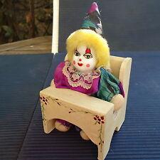 Clown Miniature Bois Porcelaine Tissu Décoré Main Artisanat 14x7x6 Cm - Vitrine