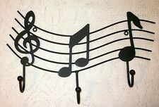 Black Wavy WROUGHT IRON Music Staff Wall Hook Hanger Notes Treble Clef Coat Rack