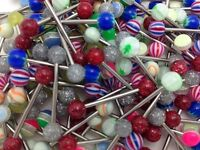 """Tongue Rings Straight Barbells Lot Of 100 Mixed 14 Gauge 5 8"""" 16mm"""
