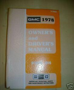 1978 GMC School Bus Owners Manual