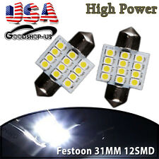 2PCS Cool White Festoon 31MM 12-SMD LED Car Interior Dome Map Light Bulb DE3175