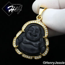 MEN's Stainless Steel Brushed Black Onyx Gold ICED Buddha Charm Pendant*GP117