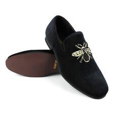Mens Shoes Velvet Slip On Black Gold Bee Beaded Embroidered Dress Loafer AZARMAN