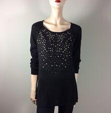 DKNY Damen Pullover M 38 Schwarz Nieten Oberteil Top Designer Knit Luxus Style