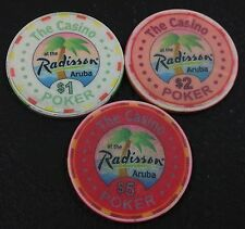 Set of 3 The Casino at the Radisson $1-$2-$5 Poker Chips Aruba ChipCo Mold