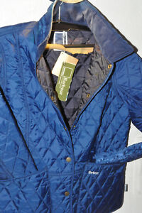 Barbour Pantone PRISM QUILT Damen Sommer Steppjacke Jacke blau EU44 Cord-Kragen