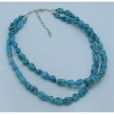 2 Strand .925 Sterling Silver Natural Blue Kingman Turquoise Nugget Necklace