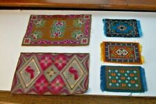 """Five Tobacco Felts Rug Carpet Designs - Two Large 8 1/2 x 5 1/4"""" & 3 small 3x5"""""""