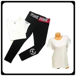 Victorias Secret PINK 🎀 Tshirt Tee Graphic Leggings Pants Set Size Large NWT