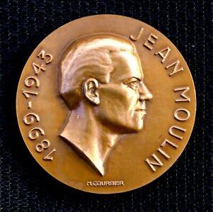 JEAN MOULIN HÉROS DE LA RÉSISTANCE 1899-1943 MÉDAILLE BRONZE GRAVURE M.COURBIER