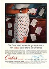 1959 Carter's Cotton Knitted Argyle Boxer Shorts Underwear Christmas Print Ad