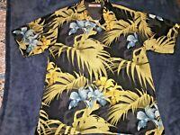 Tommy Bahama Hawaiian Black Floral Yellow Blue Flowers Silk Short Sleeve Shirt
