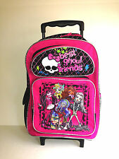 """Monster High Large 16"""" Rolling Backpack - Pink Glitter Best Ghoul Friend"""