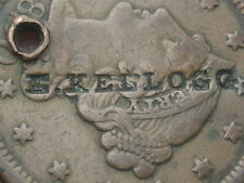1850 Braided Hair Large Cent Penny- E. Kellogg Merchant Counterstamp