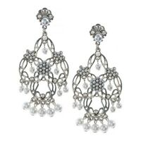 """Antique Silver Finish Simulated Pearl Tiered Chandelier Filigree Earrings, 3"""""""