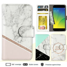 R15 Pro Find X R11s R9s A57 Case Marble I Print Wallet Leather Cover For OPPO