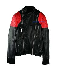 SURFACE TO AIR KID CUDI LAMB NAPPA BLACK & RED LEATHER FIRE JACKET NEW size S