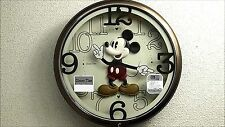 SEIKO Disney Mickey Mouse Wall Clock Brown Metallic F/S from jp With Tracking