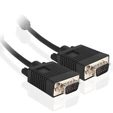 15 Pin 15ft SVGA Super Male to Male Super VGA Monitor PC TV Cable Cord M/M BLACK