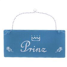 """Schild Holz """"Prinz """" 20 x 9 cm Rechteckig mit Metallbügel"""