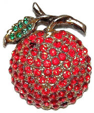 VINTAGE STUNNING GOLD TONE RED AND GREEN CRYSTAL SWEET APLLE PIN BROOCH