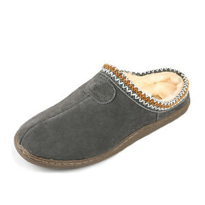 DREAM PAIRS Men's Winter Warm Home Slippers Leather Indoor Close Toe House Shoes