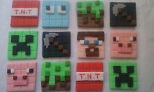 12 minecraft edible birthday sugar cake,cupcake topper decorations.
