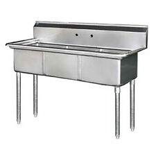 """Stainless Steel 60"""" X 24"""" 3 Three Compartment Sink No Drainboard Nsf 18x18x11"""""""