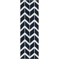 "Surya Fallon Zig Zag Federal Blue Hand Woven Wool Rug 2'6"" x 8'"