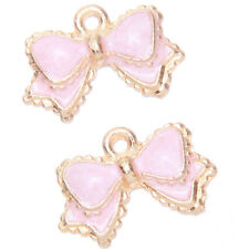 20pcs Pink Enamel Gold Plated Alloy Bowknot Charms Pendants Adorable Findings J