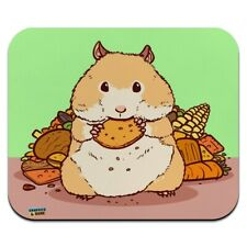 Hamster Eating Stash of Food Low Profile Thin Mouse Pad Mousepad
