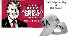 3'x5' Donald J Trump Keep America Great Flag & Usa Trump 45th Pres White Hat