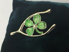 Vintage Signed GERRY'S LUCKY CLOVER WISH BONE BROOCH Green Guilloche Enamel J179