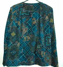 Notations LOVELY TEAL Blue/Green PAISLEY Zip Front Blazer JACKET 14