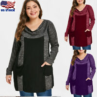 Plus Size Women Long Sleeve Loose Blouse T Shirt Ladies Casual Tunic Jumper Tops