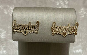 14K Solid Yellow Gold Jaquelyn Name Plate Stud Earrings