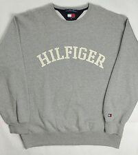 Vintage Tommy Hilfiger Mens Crew Sweatshirt Gray Spellout XL
