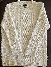 Talbots Cable Knit Aran Cream Crewneck Sweater Size M Fisherman Style Medium