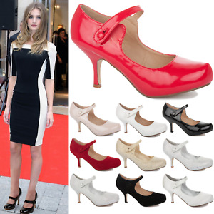 New Ladies Womens Low Mid High Heel Smart Work Bridal Wedding Court Shoes Size