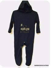 Personalised Name Hooded Baby Grow/Sleep suit,Outfit Embroidered Gift Baby Boy