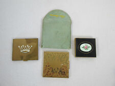 Compacts Powder Make Up Elgin American Crown Brass Enamel Flowers Vtg Lot of 3