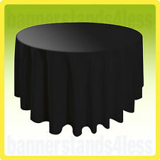 "108"" Round Tablecloth Banquet Wedding Restaurant Polyester Cover - BLACK"