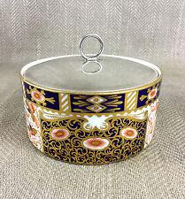 Antico VASO BARATTOLO CON COPERCHIO Box 19th C dipinti a mano brownfield Derby Imari Porcellana