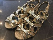 Juicy Couture New & Genuine Girls Gold Leather Sandals UK 12, EU 31 With Logo